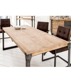 Table rectangulaire industrielle bois et métal