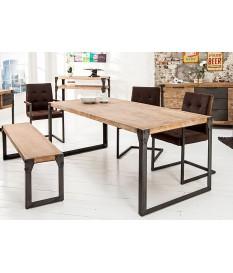 Table acier et bois industriel 200 cm
