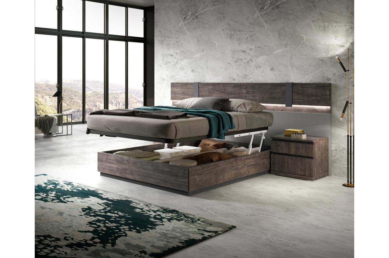 Lit adulte design avec coffre de rangement 160x200 pour chambre adulte