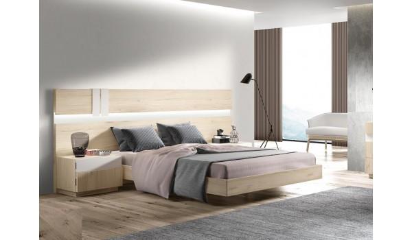 Lit adulte 160x200 avec chevets et tête de lit à Led design