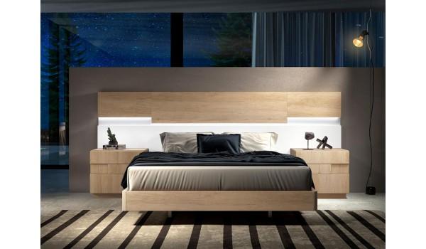 Lit design en bois 160x200 avec chevets & tête de lit à Led