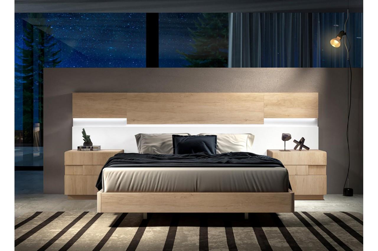 Lit Design En Bois 160x200 Avec Chevets Tete De Lit A Led Pour Chambre Adulte