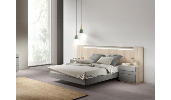 Lit moderne avec chevets & tête de lit lumineuse