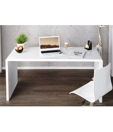 Bureau simple laqué blanc brillant 140cm