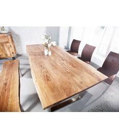 Table rectangulaire bois massif - Acier brossé