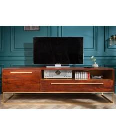 Meuble TV en bois d'acacia et déco dorée