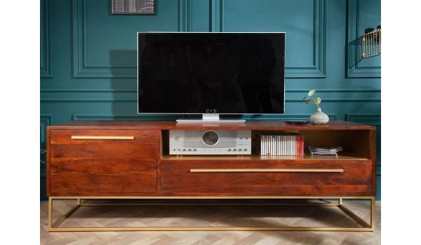 Meuble TV en bois d'acacia et déco doré