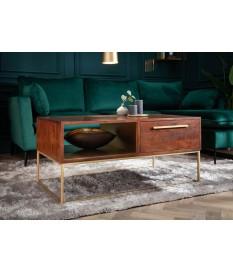 Table basse en bois d'acacia et déco doré