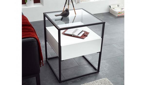 Table bout de canapé blanche et verre