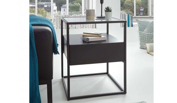 Table bout de canapé noir et verre