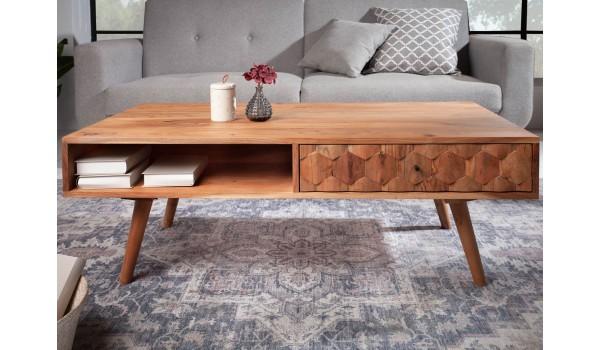 Table basse acacia clair rectangulaire / Effet marqueterie 3D