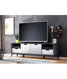 Meuble TV façades réversibles grise ou blanche laqué