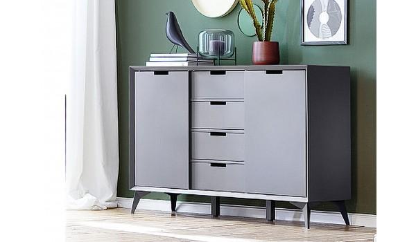 Buffet design laqué blanc et gris façades retournable
