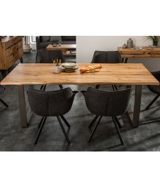 Table rectangulaire bois massif - Pieds anthracite