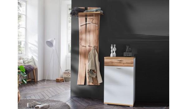 Meuble rangement et vestiaire blanc et bois