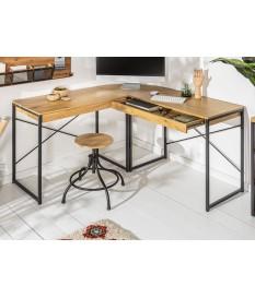 Bureau d'angle bois et métal 2 tiroirs pas cher