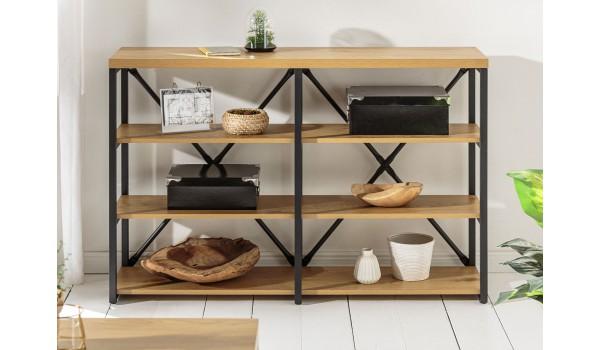Bibliothèque étagère bois et métal look industrielle