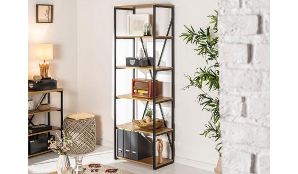Bibliothèque étagère haute bois et métal look industriel