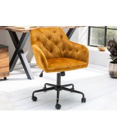 Chaise de bureau velours jaune moutarde matelassée