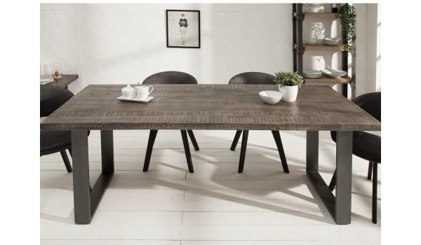 table à manger rectangulaire bois et métal