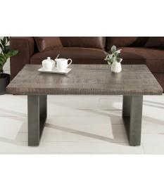 Table basse rectangulaire en bois et pied métal design