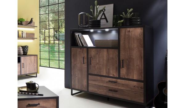 Buffet haut bois et métal look industriel