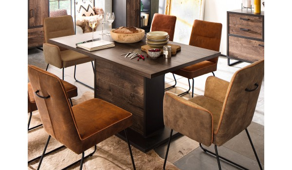Table à manger rectangulaire bois et pieds central