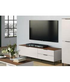 Meuble TV blanc-cachemire/noyer