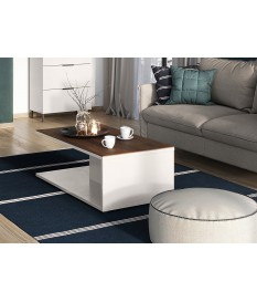 Table basse rectangulaire blanc-cachemire/noyer