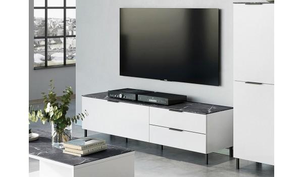 Meuble TV blanc - Gris effet marbre