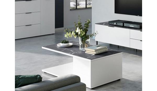 Table basse rectangulaire - Blanc / Gris effet marbre