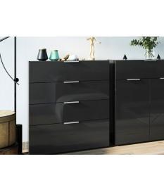Commode à tiroirs noire - Verre noir