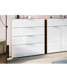Commode 4 tiroirs bois - Verre blanc