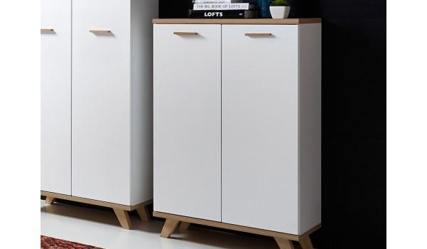 armoire de classement blanc et bois scandinave
