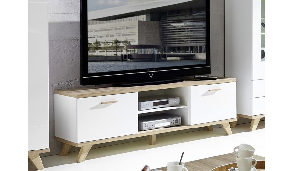 Meuble TV blanc et chêne sonoma