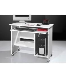 Bureau compact avec rangement intégré blanc