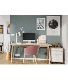 Table bureau blanc et bois