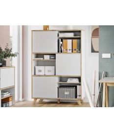 Armoire étagère haute blanc et bois scandinave