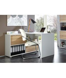 Bureau d'angle blanc et bois rangement intégré