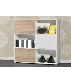 Étagère meuble à portes coulissantes et réversibles