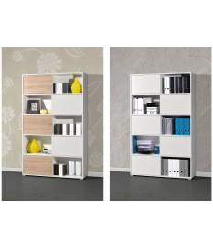 Armoire étagère haute blanc et bois