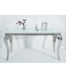 Table console baroque blanche et métal chromé