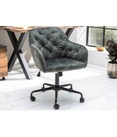 Chaise de bureau velours vert matelassée
