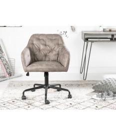 Chaise de bureau matelassée velours taupe