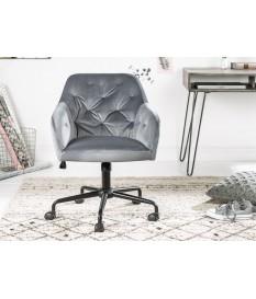 Chaise de bureau matelassée velours grise