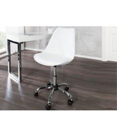 Chaise de bureau scandinave réglable en hauteur blanche