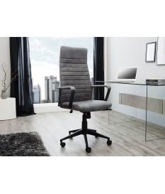 Chaise de bureau réglable gris vintage avec accoudoirs