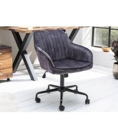 Chaise de bureau velours gris foncé avec accoudoirs