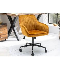 Chaise de bureau velours jaune moutarde avec accoudoirs