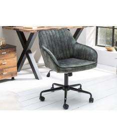 Chaise de bureau velours vert foncé avec accoudoirs